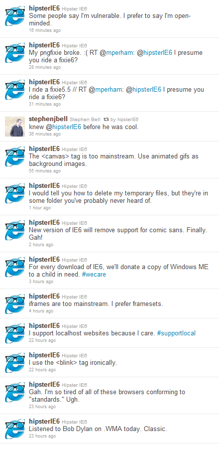 2011 02 25 1504 Hipster IE6 isnt vulnerable, claims to be merely open minded
