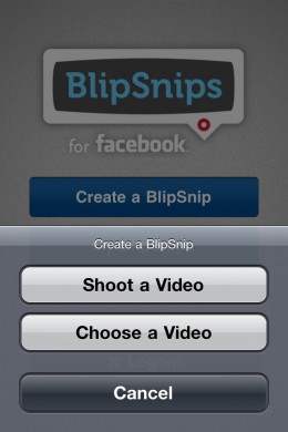 BlipSnips for Facebook Video Creation 260x390 BlipSnips for Facebook. Super simple and social mobile video sharing