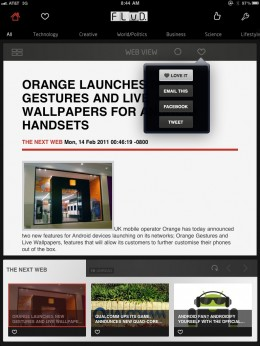 FLUD iPad Share Options 260x346 FLUD. Grand iOS news reader launching flood of new features
