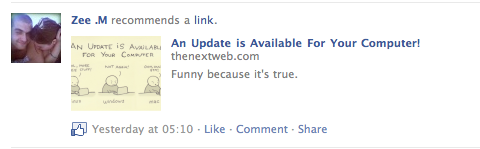 Picture 136 Liking a story now posts a thumbnail to your Facebook stream, just like the FB share button.