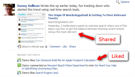 Picture 1381 Liking a story now posts a thumbnail to your Facebook stream, just like the FB share button.