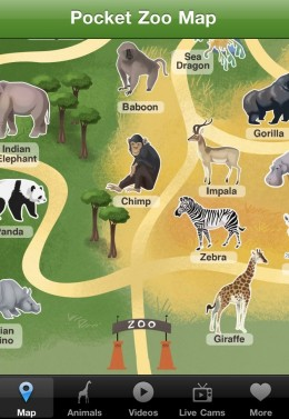 Pocket Zoo for iPhone Map e1296842179803 260x377 Pocket Zoo for iPhone.  An app anyone will go ape for