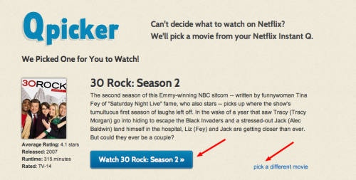 Qpicker Result 1 500x253 Qpicker. Netflix Instant Queue selection aid for those in need