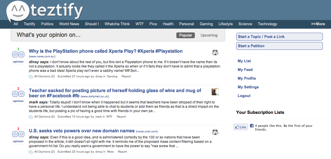 Screen shot 2011 02 08 at 9.24.21 PM Teztify: Its like Quora, but for discussions.