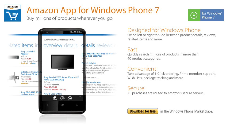 Screen shot 2011 02 10 at 08.48.47 Amazon launches official Windows Phone 7 app