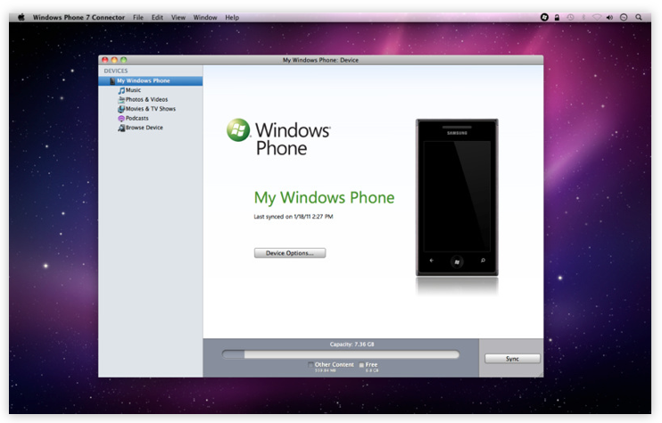 windows phone 7 connector for mac without mac app store