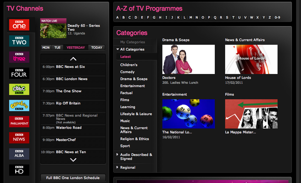 Screen shot 2011 02 17 at 15.24.081 BBC iPlayer now features programmes from other on demand services