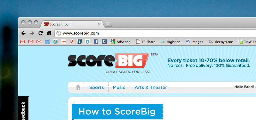 ScoreBig: Save big cash on unsold live event tickets [Invites]