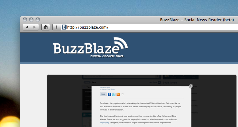 BuzzBlaze: A social, web-based RSS reader with a visual spin
