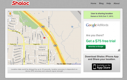 Shaloc Web Interface 500x317 Shaloc. Dead simple real time GPS location sharing