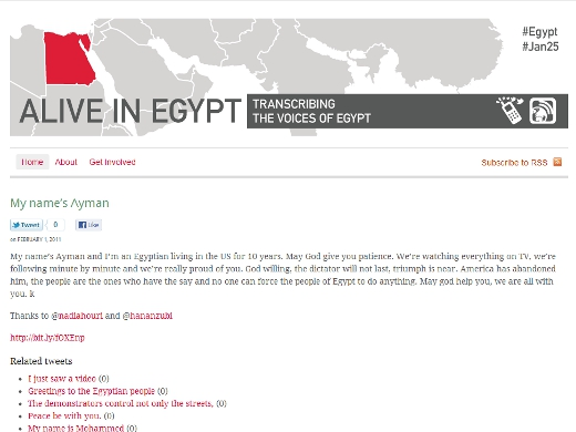 alive Alive In Egypt site launched to display translated voice messages from @Speak2Tweet