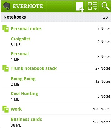 android stacks1 Evernote for Android Releases New Updates