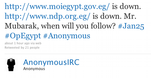 anonymous tweet Anonymous hits Egyptian government sites with fresh DDoS attacks