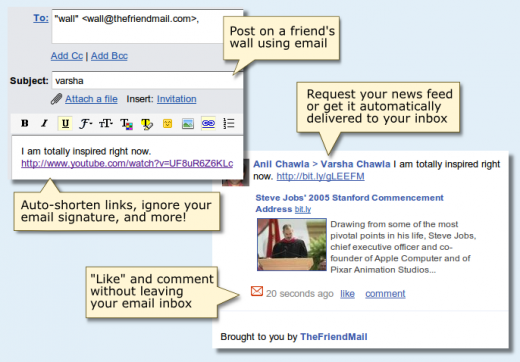 example wall 520x362 TheFriendMail: Your entire Facebook, in your email.