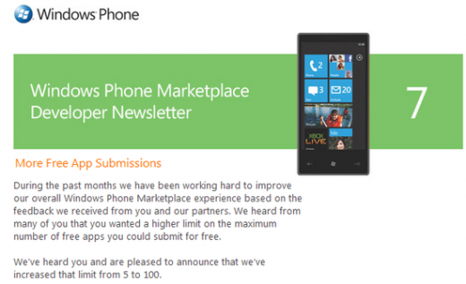 free apps 520x317 Microsoft increases free app submissions from 5 to 100 apps