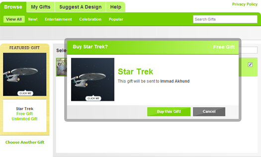 gift Give Star Trek Animated Gifts on Facebook with The Gift App.