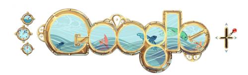 googledoodle 500x151 Google Doodle Honors French Novelist Jules Verne