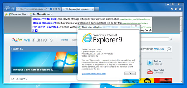 Microsoft Releases Internet Explorer 9 Release Candidate