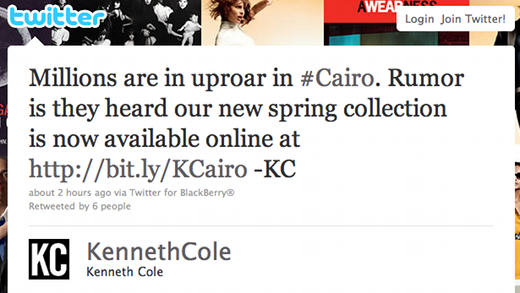 kenneth cole tweet Fashion brand Kenneth Cole hijacks Egypt hashtag to promote its new collection