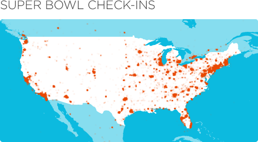 map 1 Foursquare wins the Superbowl with over 200,000 check ins