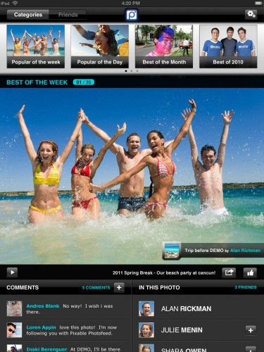 photofeedipadscreenshot 1 375x500 Take a fresh look at your friends photos as Pixable hits the iPad