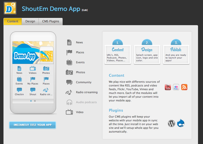 shoutemPR4 You need a mobile app. ShoutEm makes its creation incredibly easy.