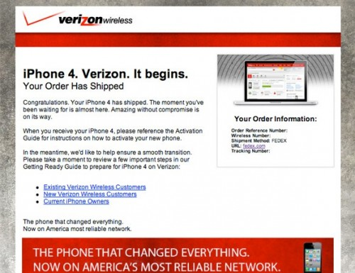 verizoniphone 500x385 Verizon iPhone 4 Sells Out, Orders Begin Shipping