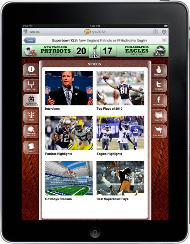 vualla superbowl videos 390x500 Vualla: A social TV app for your iPad, plus a Super Bowl special