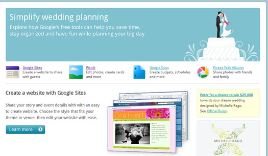 wedding1 Google illustrates the potential of Google Apps with a wedding planning guide