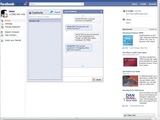 2 Dialogue 520x391 HeyWire now lets you text your friends from Facebook