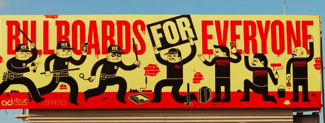 Adstruc disrupts the outdoor ad space with Gary V, Twilio and Shepard Fairey.