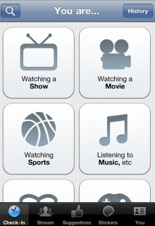 GetGlue for iPhone UI e1301409129108 220x321 GetGlue adds Foursquare integration and sports check ins