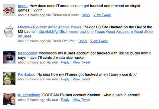 Screen shot 2011 03 01 at 08.33.05 520x358 Apple iTunes accounts hacked as more rogue developers emerge