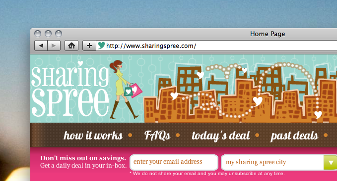 Sharing Spree: Focus on women, launch slow, donate profits. A daily deals twist.