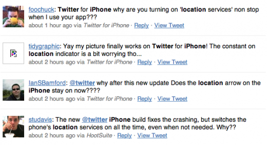 Screen shot 2011 03 09 at 12.27.19 520x282 After Twitter updates the #dickbar, new iPhone bugs emerge