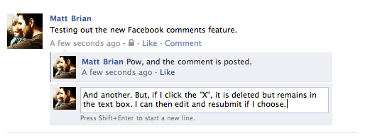 Screen shot 2011 03 16 at 07.23.48 Facebook drops the comment button, allows users to edit replies