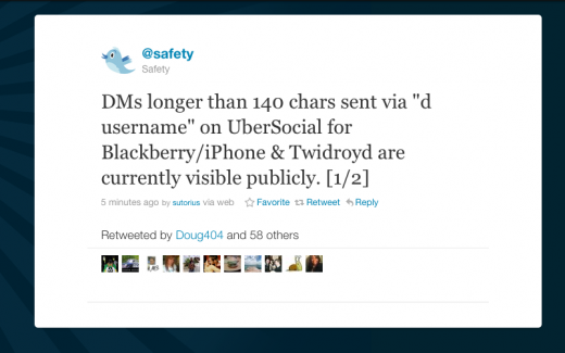 Screen shot 2011 03 31 at 12.41.36 PM 520x325 Twitter warning to UberSocial users: Your DMs might be public
