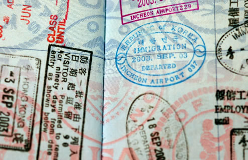 Visa and passport stamps