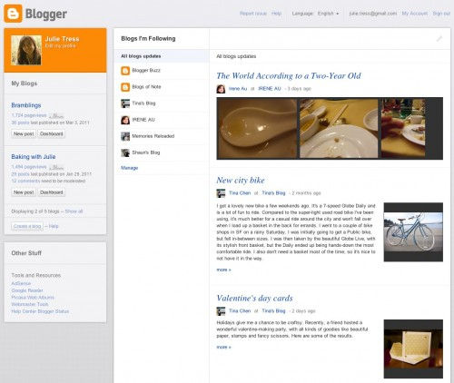 dashboard new 500x422 Google teases slick new Blogger interface, mobile themes and content discovery tool