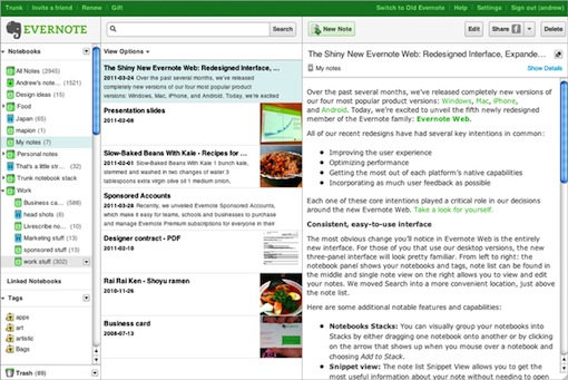 Evernote Unveils a Shiny New Web App