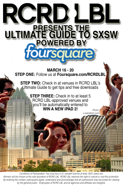 foursquarercrdlbl Foursquare partners with RCRD LBL for SXSW Music