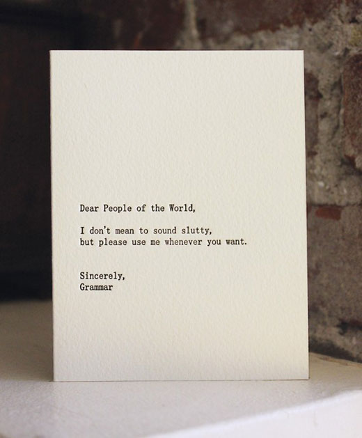 grammar Funny letterpress cards keep you laughing in style