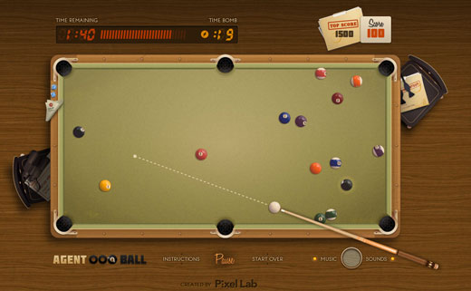 html5pool HTML5 billiards proof of concept is dangerously addictive