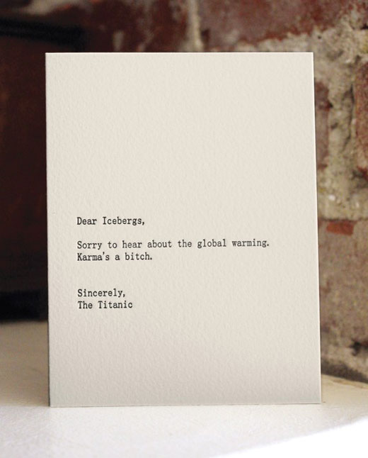icebergs Funny letterpress cards keep you laughing in style