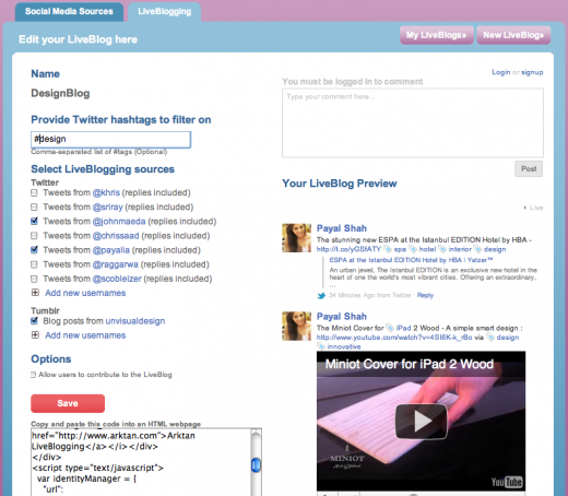 liveblogging dashboard 520x454 Arktan launches LiveBlogging with new ways to utilize social media