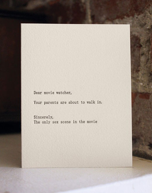 movie Funny letterpress cards keep you laughing in style