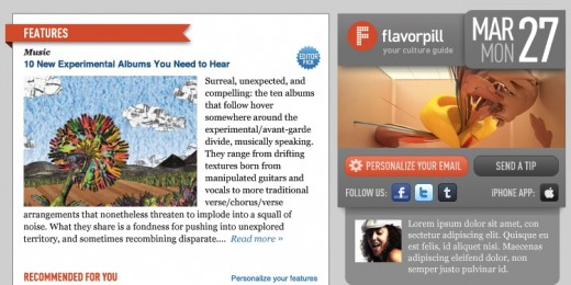 new flavorpill mailer1 520x260 Flavorpill celebrates its 10th year with a custom, thinking newsletter