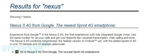 nexus4g 520x199 Sprint confirms Nexus S 4G via premature website listing [Updated]
