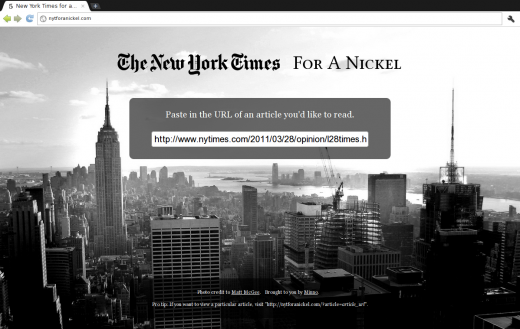 nytforanickel1 520x329 NY Times shuts down a paywall bypass in just 68 minutes.