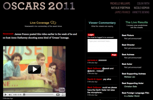 oscars newsweek 520x341 Arktan launches LiveBlogging with new ways to utilize social media